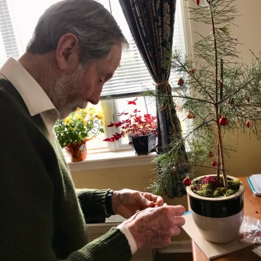 Peter decorates his tiny tree for Christmas 2018.